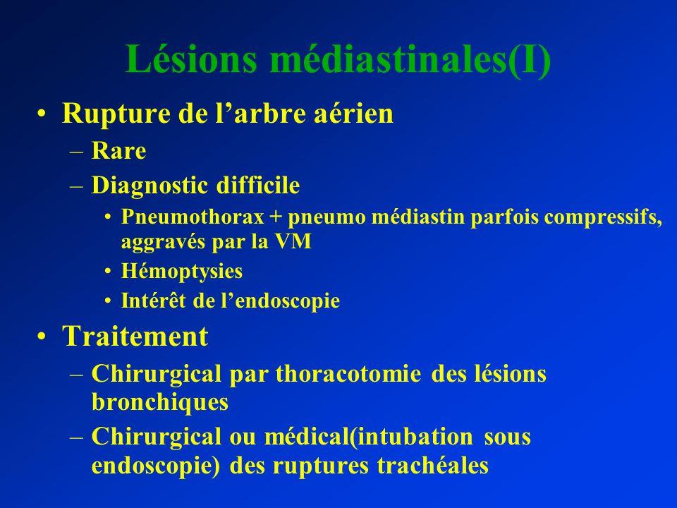Lésions médiastinales(I) Rupture de larbre aérien –Rare –Diagnostic difficile Pneumothorax + pneumo médiastin parfois compressifs, aggravés par la VM