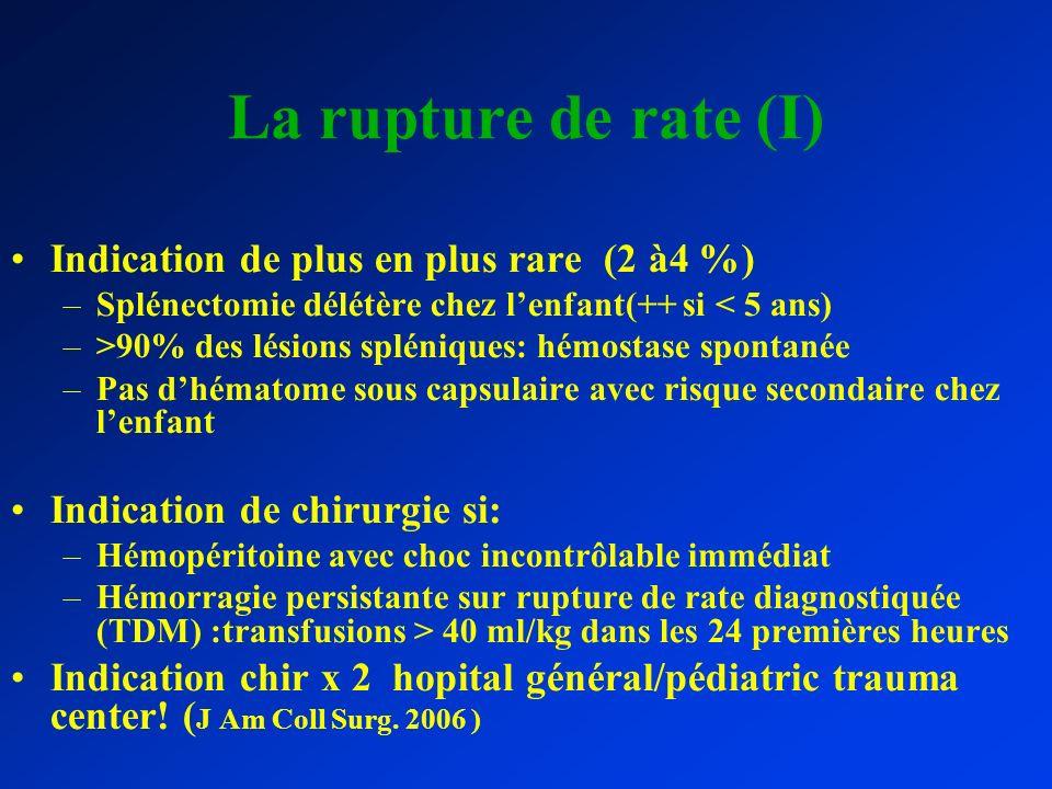 La rupture de rate (I) Indication de plus en plus rare (2 à4 %) –Splénectomie délétère chez lenfant(++ si < 5 ans) –>90% des lésions spléniques: hémos