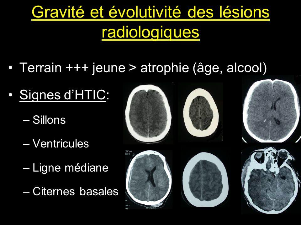 Gravité et évolutivité des lésions radiologiques Terrain +++ jeune > atrophie (âge, alcool) Signes dHTIC: –Sillons –Ventricules –Ligne médiane –Citern