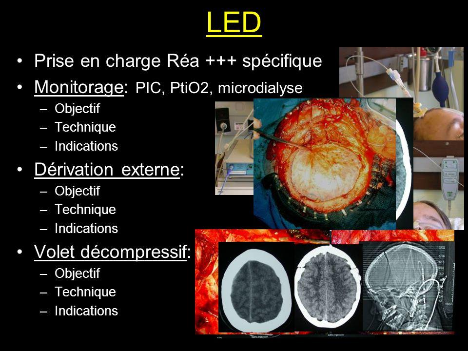 LED Prise en charge Réa +++ spécifique Monitorage: PIC, PtiO2, microdialyse –Objectif –Technique –Indications Dérivation externe: –Objectif –Technique