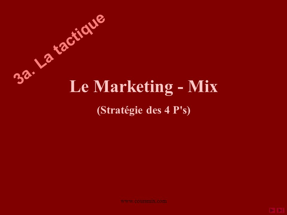www.coursmix.com Le Marketing - Mix (Stratégie des 4 P's) 3a. La tactique