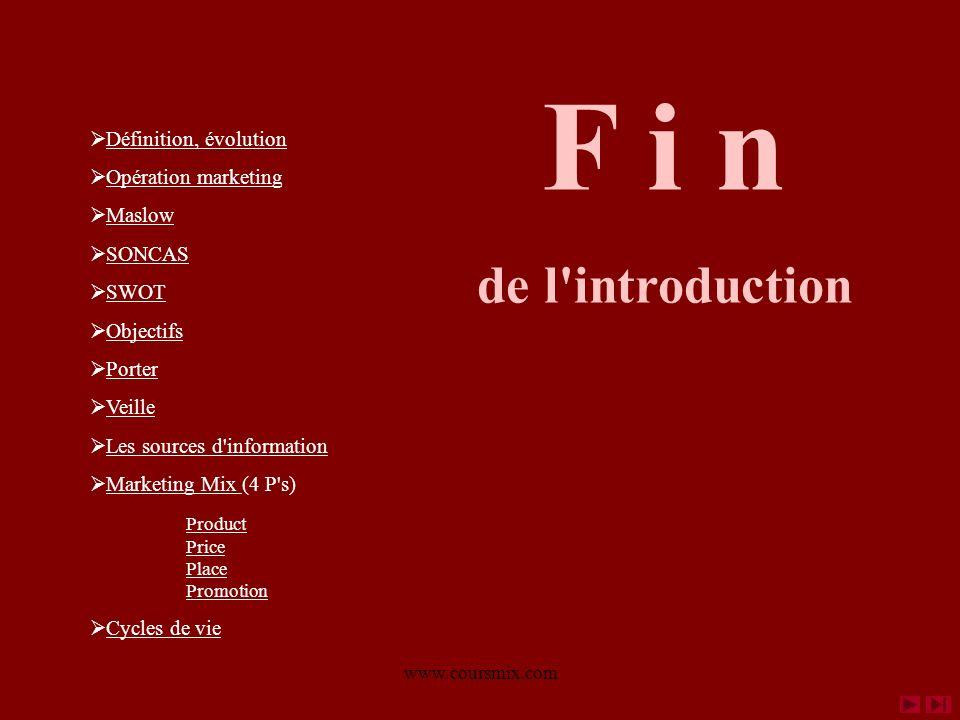 www.coursmix.com F i n de l'introduction Définition, évolution Opération marketing Maslow SONCAS SWOT Objectifs Porter Veille Les sources d'informatio
