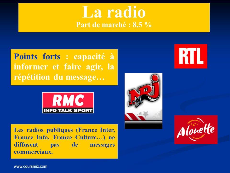 www.coursmix.com La radio Part de marché : 8,5 % Points forts : capacité à informer et faire agir, la répétition du message… Les radios publiques (Fra