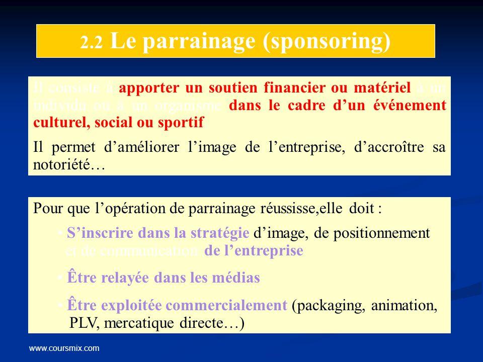 www.coursmix.com 2.2 Le parrainage (sponsoring) Il consiste à apporter un soutien financier ou matériel à un individu ou à un organisme dans le cadre