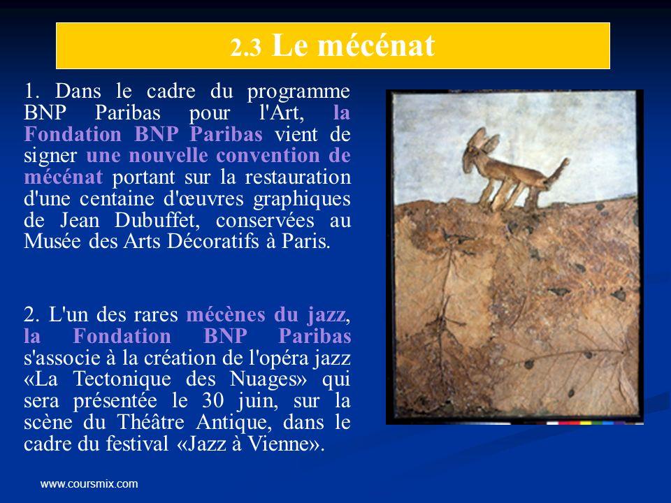 www.coursmix.com 1. Dans le cadre du programme BNP Paribas pour l'Art, la Fondation BNP Paribas vient de signer une nouvelle convention de mécénat por