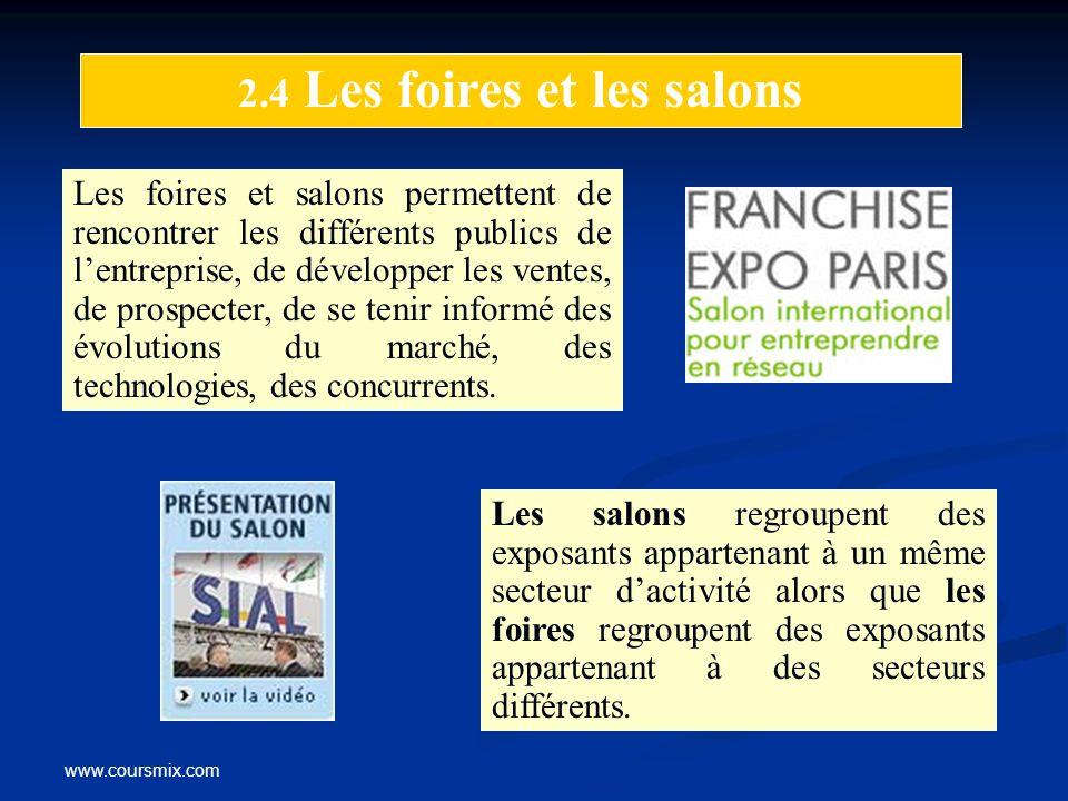 www.coursmix.com 2.4 Les foires et les salons Les foires et salons permettent de rencontrer les différents publics de lentreprise, de développer les v