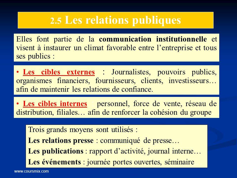 www.coursmix.com 2.5 Les relations publiques Elles font partie de la communication institutionnelle et visent à instaurer un climat favorable entre le