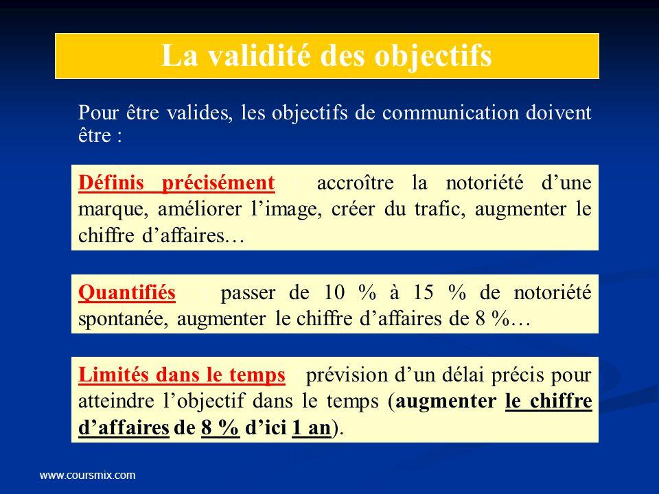 www.coursmix.com La validité des objectifs Pour être valides, les objectifs de communication doivent être : Définis précisément : accroître la notorié
