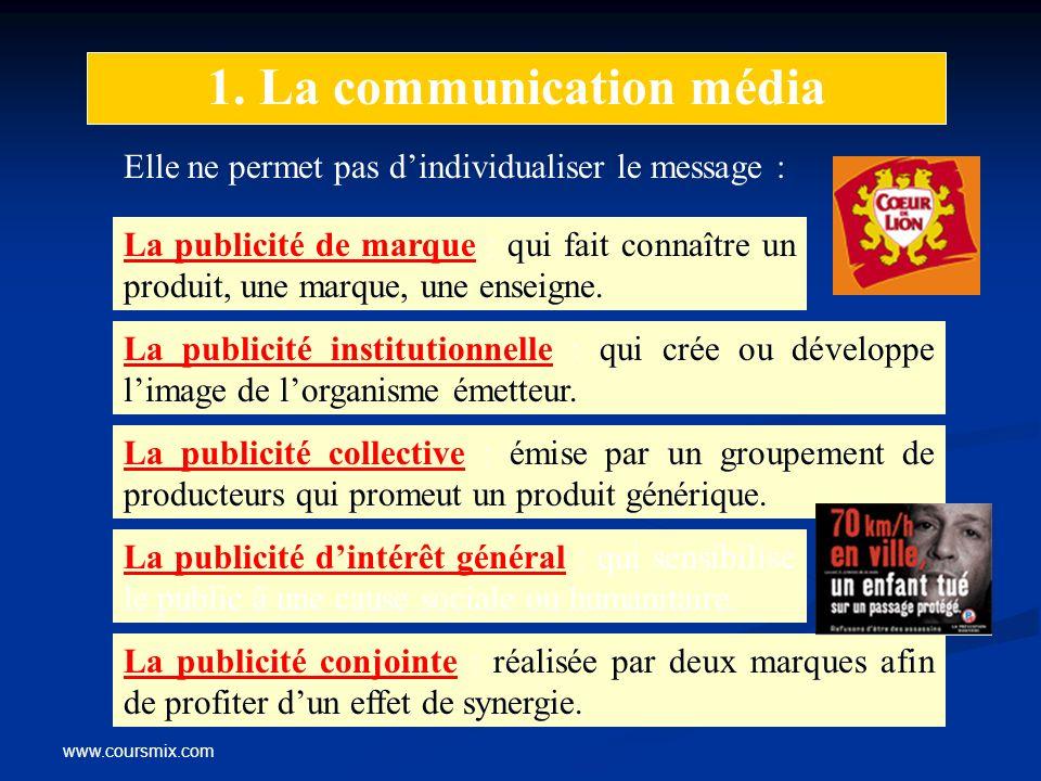 www.coursmix.com 1. La communication média Elle ne permet pas dindividualiser le message : La publicité de marque : qui fait connaître un produit, une