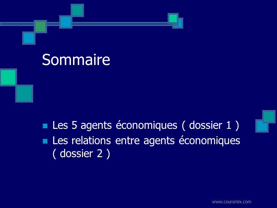 www.coursmix.com Sommaire Les 5 agents économiques ( dossier 1 ) Les relations entre agents économiques ( dossier 2 )