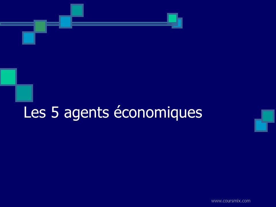 www.coursmix.com Les 5 agents économiques