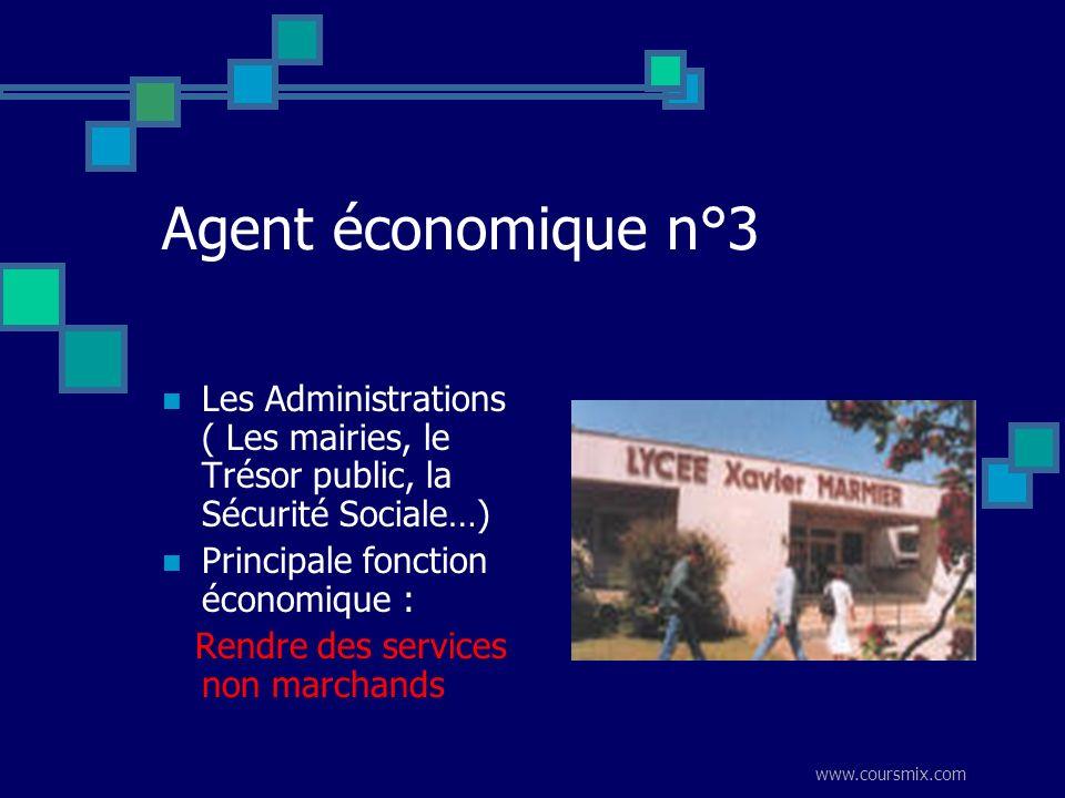 www.coursmix.com Agent économique n°3 Les Administrations ( Les mairies, le Trésor public, la Sécurité Sociale…) Principale fonction économique : Rend