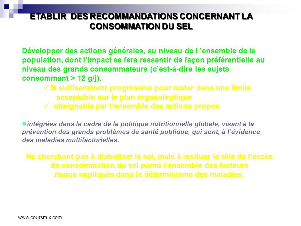 www.coursmix.com ETABLIR DES RECOMMANDATIONS CONCERNANT LA CONSOMMATION DU SEL Développer des actions générales, au niveau de l ensemble de la population, dont limpact se fera ressentir de façon préférentielle au niveau des grands consommateurs (cest-à-dire les sujets consommant > 12 g/j).