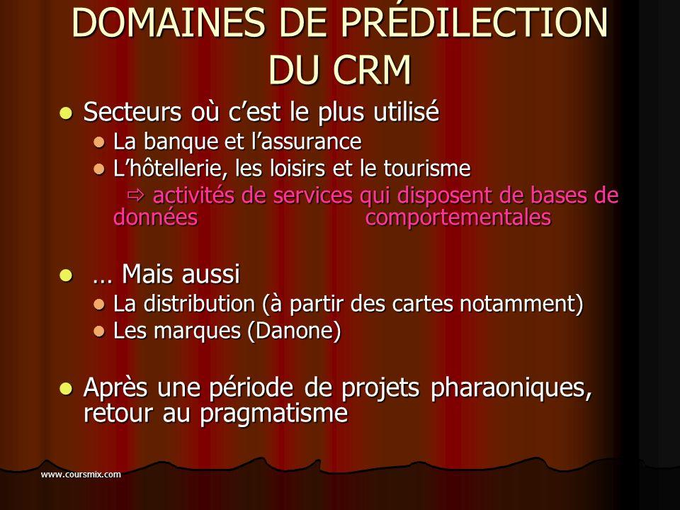 www.coursmix.com LES 5 ÉTAPES DU CRM 1. Identifier et collecter les données (datawarehouse) 2. Segmenter de façon stratégique la clientèle (datamining