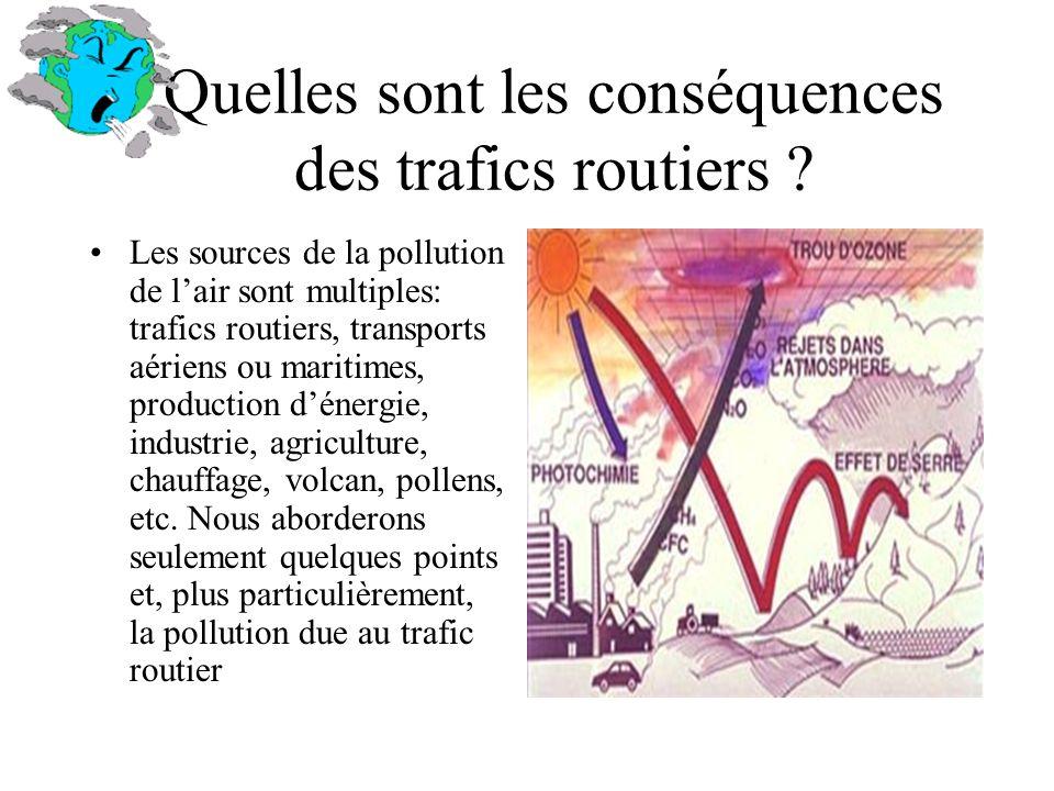 Quelles sont les conséquences des trafics routiers ? Les sources de la pollution de lair sont multiples: trafics routiers, transports aériens ou marit