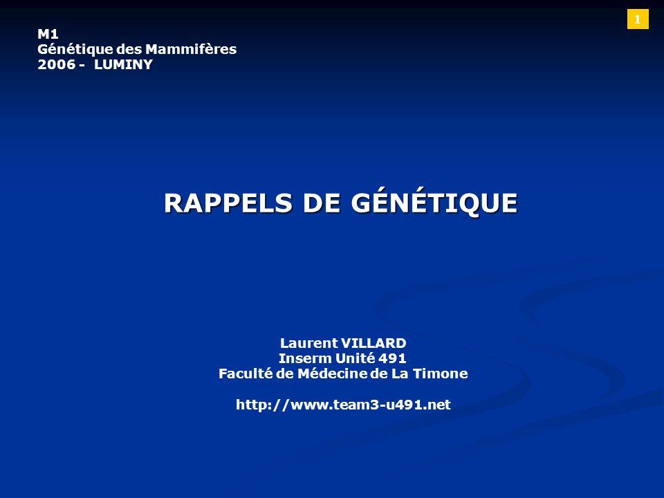 RAPPELS DE GÉNÉTIQUE Laurent VILLARD Inserm Unité 491 Faculté de Médecine de La Timone http://www.team3-u491.net M1 Génétique des Mammifères 2006 - LU