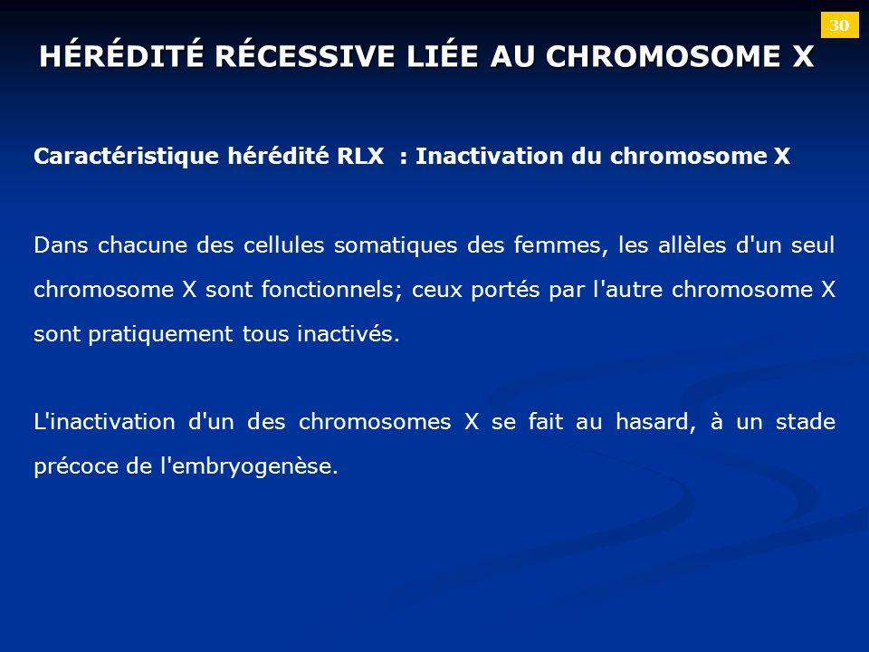 30 HÉRÉDITÉ RÉCESSIVE LIÉE AU CHROMOSOME X Caractéristique hérédité RLX : Inactivation du chromosome X Dans chacune des cellules somatiques des femmes