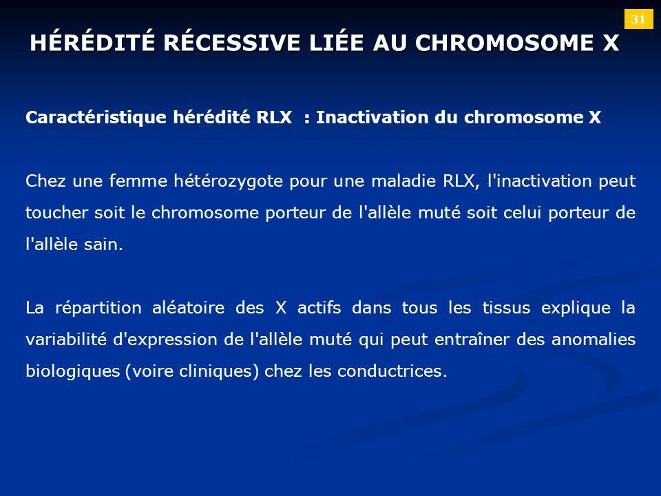 31 Caractéristique hérédité RLX : Inactivation du chromosome X Chez une femme hétérozygote pour une maladie RLX, l'inactivation peut toucher soit le c