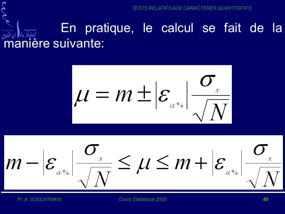 Pr. A. SOULAYMANICours Statistique 200540 TESTS RELATIFS AUX CARACTERES QUANTITATIFS En pratique, le calcul se fait de la manière suivante: