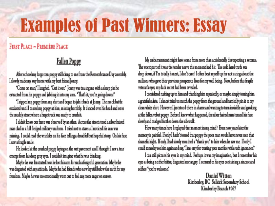 Examples of Past Winners: Essay