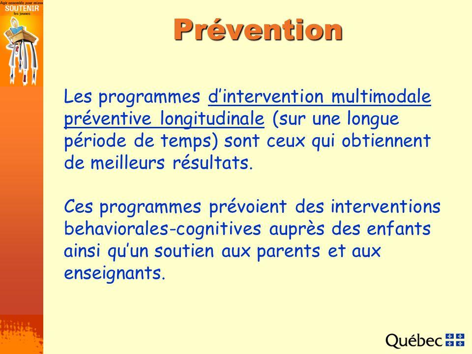 Prévention Les programmes dintervention multimodale préventive longitudinale (sur une longue période de temps) sont ceux qui obtiennent de meilleurs r