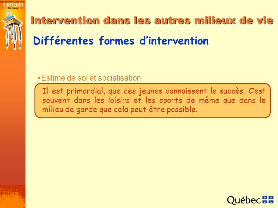 Différentes formes dintervention Estime de soi et socialisation Interventions dans les milieux de garde Interventions dans le milieu des sports et loi