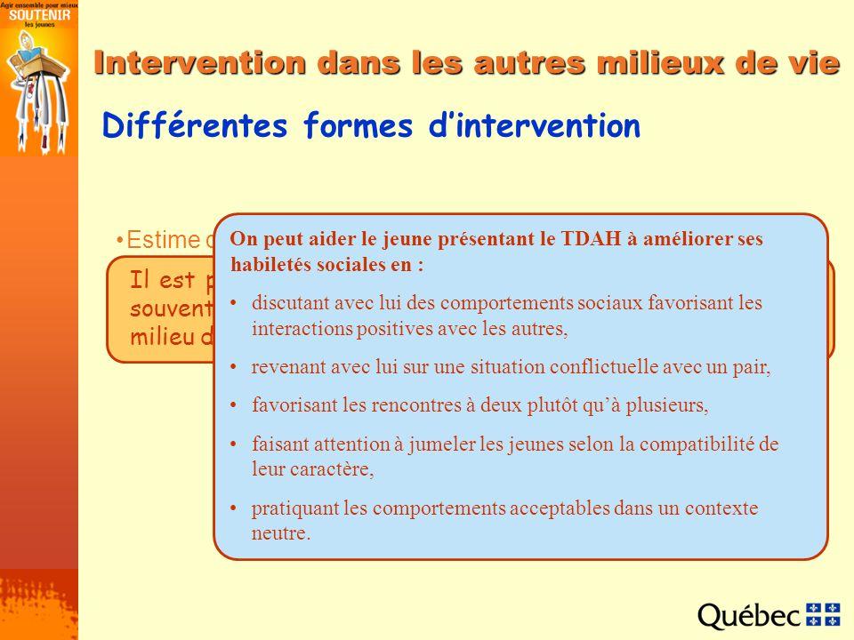 Intervention dans les autres milieux de vie Différentes formes dintervention Estime de soi et socialisation Interventions dans les milieux de garde In