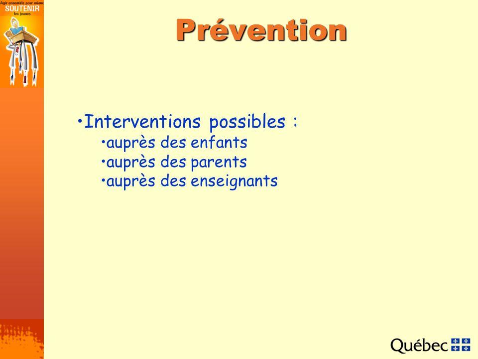Prévention Interventions possibles : auprès des enfants auprès des parents auprès des enseignants