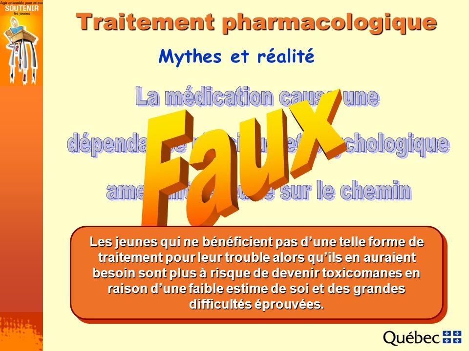 Mythes et réalité Traitement pharmacologique Les jeunes qui ne bénéficient pas dune telle forme de traitement pour leur trouble alors quils en auraien