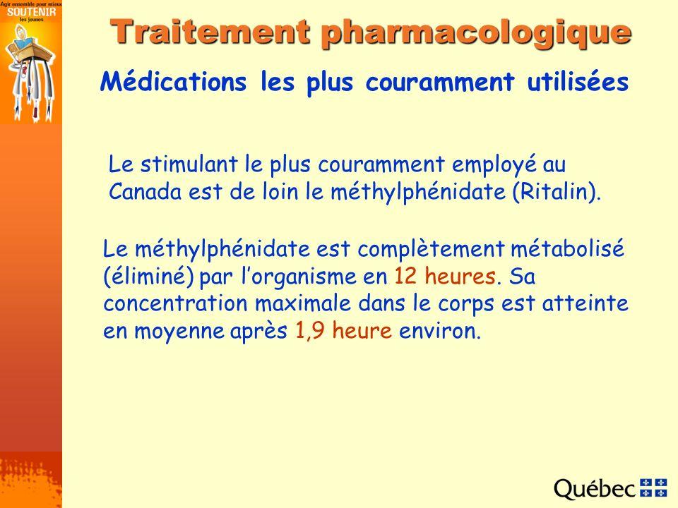 Médications les plus couramment utilisées Traitement pharmacologique Le stimulant le plus couramment employé au Canada est de loin le méthylphénidate