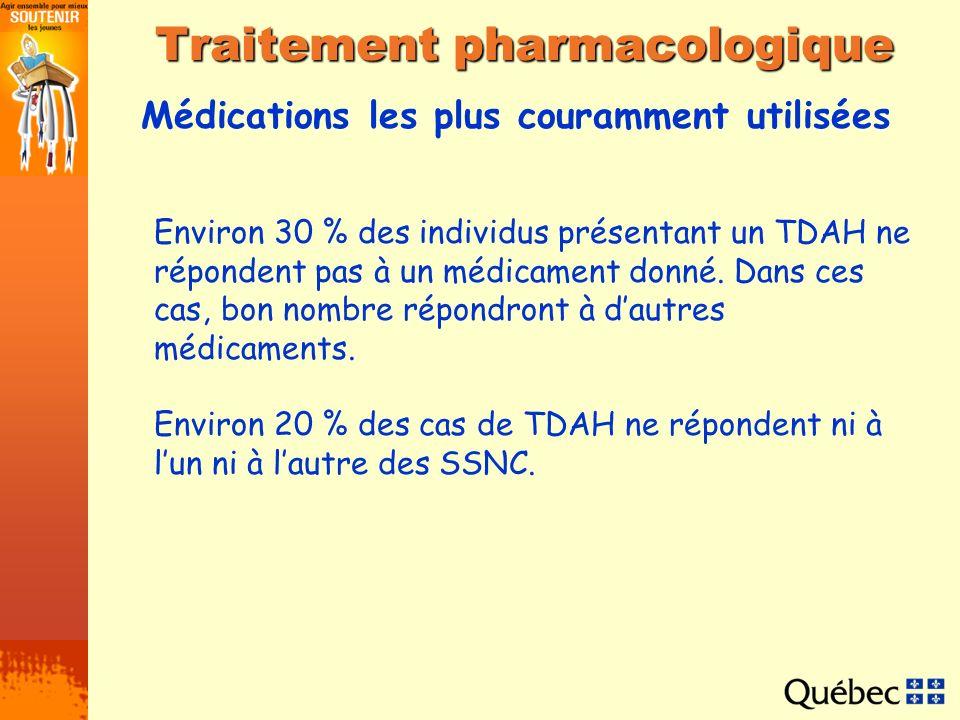 Médications les plus couramment utilisées Traitement pharmacologique Environ 30 % des individus présentant un TDAH ne répondent pas à un médicament do