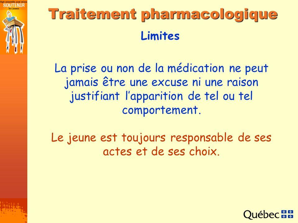 Limites Traitement pharmacologique La prise ou non de la médication ne peut jamais être une excuse ni une raison justifiant lapparition de tel ou tel