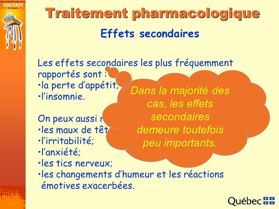 Effets secondaires Traitement pharmacologique Les effets secondaires les plus fréquemment rapportés sont : la perte dappétit; linsomnie. On peux aussi