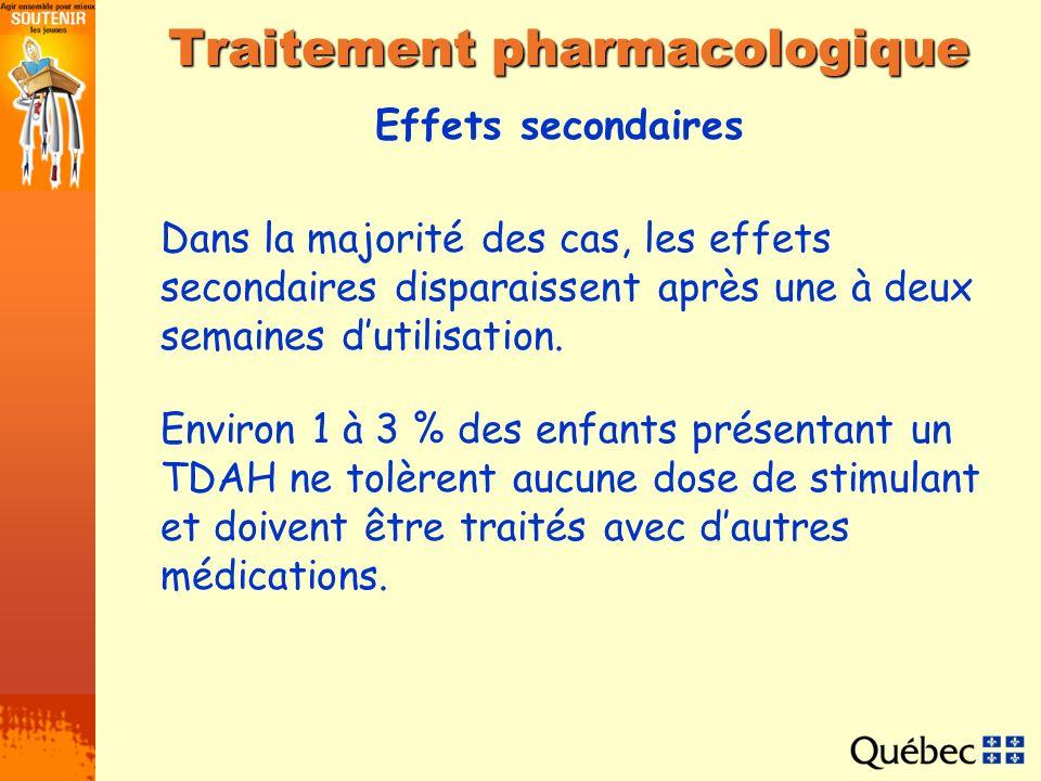 Effets secondaires Traitement pharmacologique Dans la majorité des cas, les effets secondaires disparaissent après une à deux semaines dutilisation. E