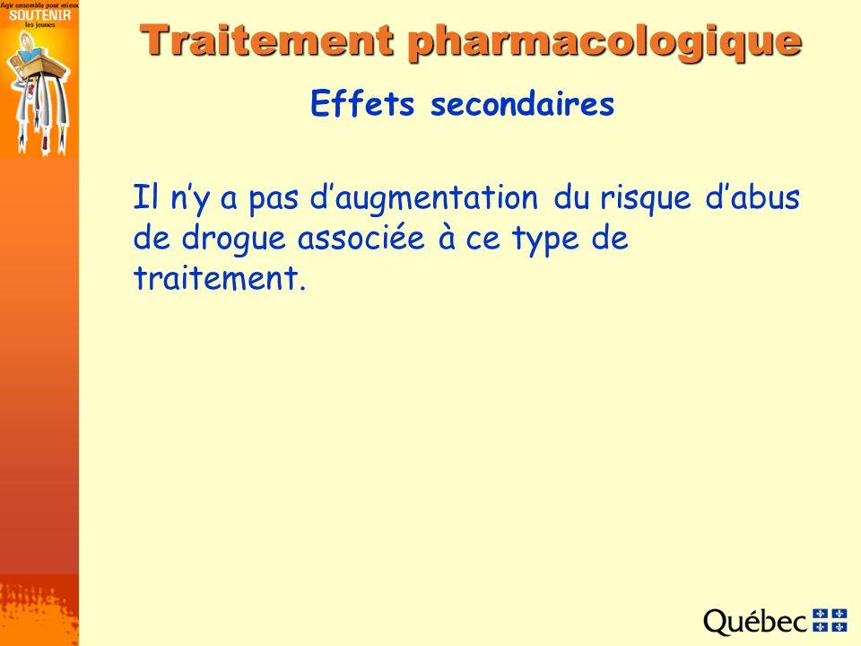 Effets secondaires Traitement pharmacologique Il ny a pas daugmentation du risque dabus de drogue associée à ce type de traitement.