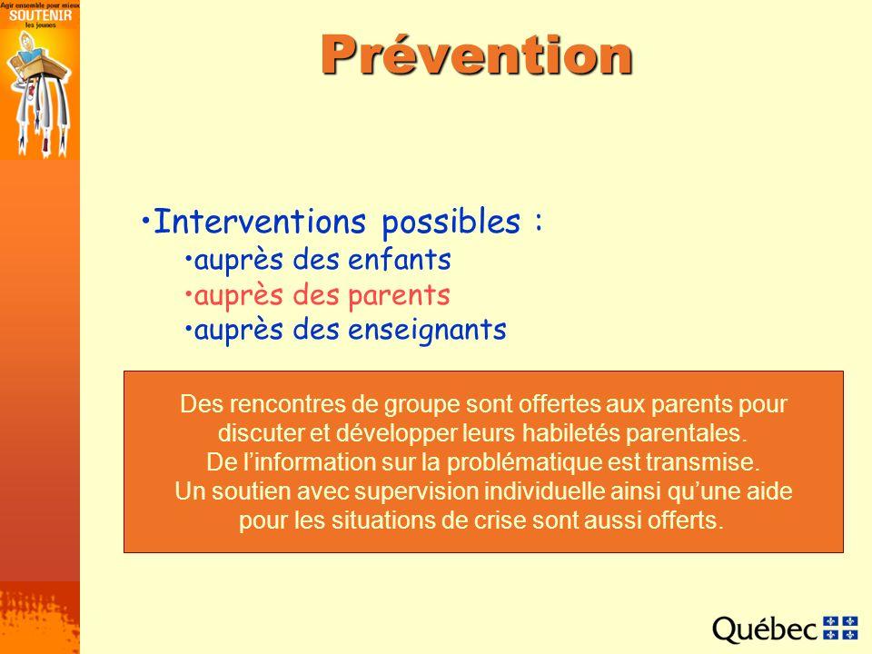 Prévention Interventions possibles : auprès des enfants auprès des parents auprès des enseignants Des rencontres de groupe sont offertes aux parents p