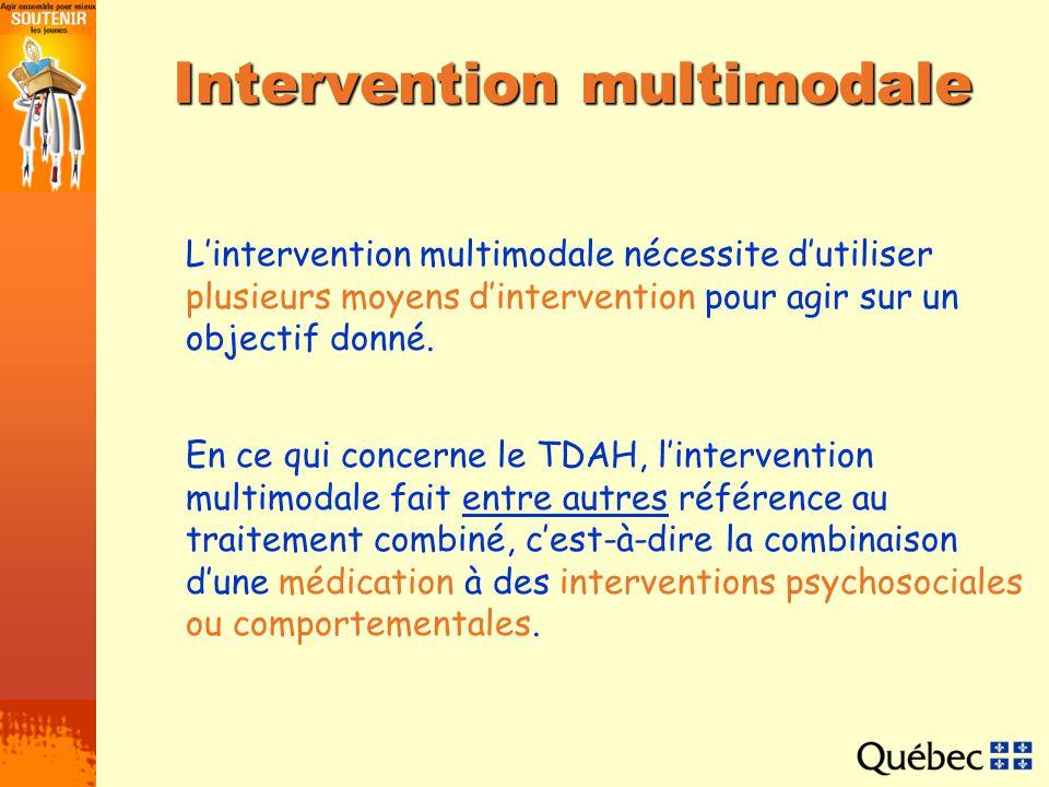 Intervention multimodale Lintervention multimodale nécessite dutiliser plusieurs moyens dintervention pour agir sur un objectif donné. En ce qui conce