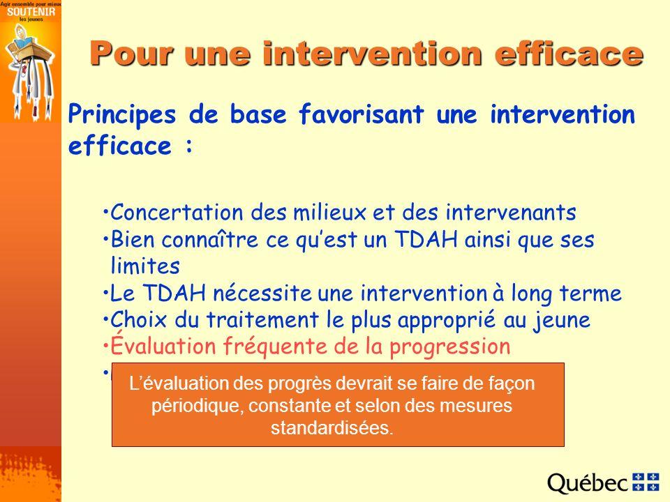 Pour une intervention efficace Principes de base favorisant une intervention efficace : Concertation des milieux et des intervenants Bien connaître ce