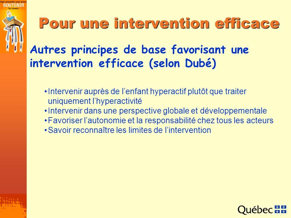 Pour une intervention efficace Autres principes de base favorisant une intervention efficace (selon Dubé) Intervenir auprès de lenfant hyperactif plut