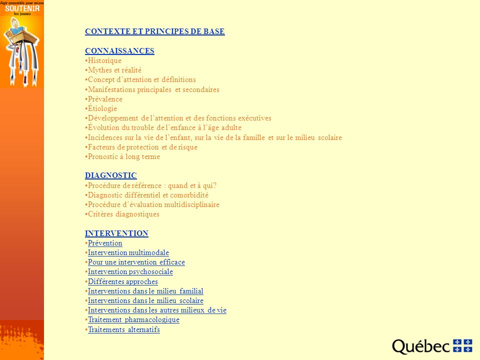 CONTEXTE ET PRINCIPES DE BASE CONNAISSANCES Historique Mythes et réalité Concept dattention et définitions Manifestations principales et secondaires P