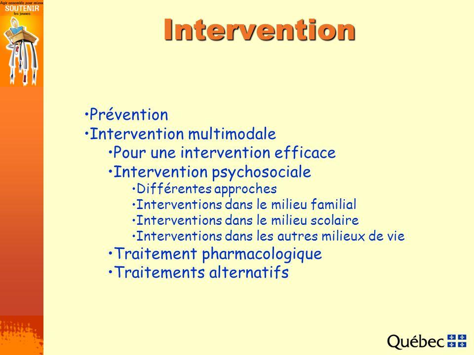 Différentes approches Système démulation et modification du comportement Thérapie cognitive Relaxation Interventions visant à pallier linattention Interventions visant à améliorer les capacités dorganisation Moyens visant à limiter linattention Interventions visant à limiter lagitation Interventions visant à diminuer limpulsivité et à améliorer le comportement en général Interventions visant à améliorer lestime de soi Interventions visant à améliorer les habiletés sociales La relaxation est très efficace pour les jeunes qui présentent de lanxiété en plus dun TDAH.