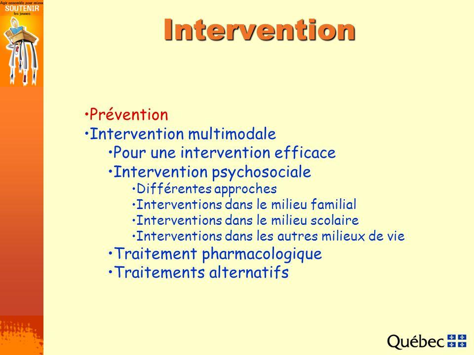 Intervention psychosociale Plusieurs recherches ont permis de mettre en évidence la supériorité de lintervention multimodale quant à son efficacité auprès des jeunes présentant le TDAH.