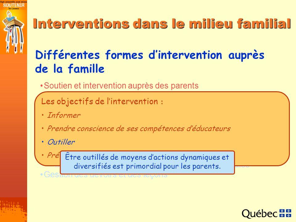 Interventions dans le milieu familial Différentes formes dintervention auprès de la famille Soutien et intervention auprès des parents Processus de de