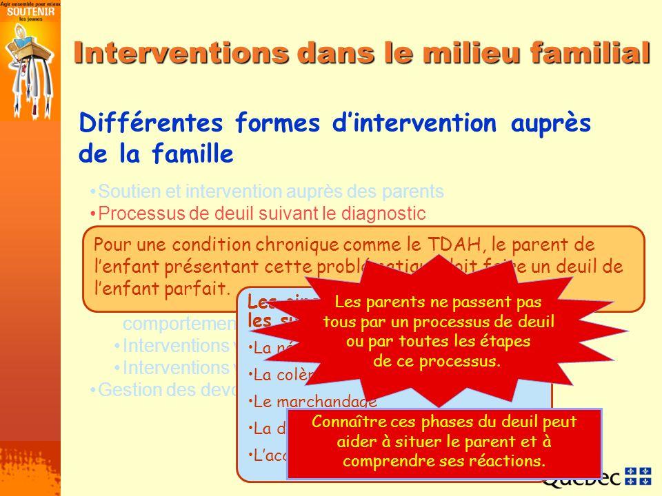 Interventions dans le milieu familial Soutien et intervention auprès des parents Processus de deuil suivant le diagnostic Interventions auprès de lenf