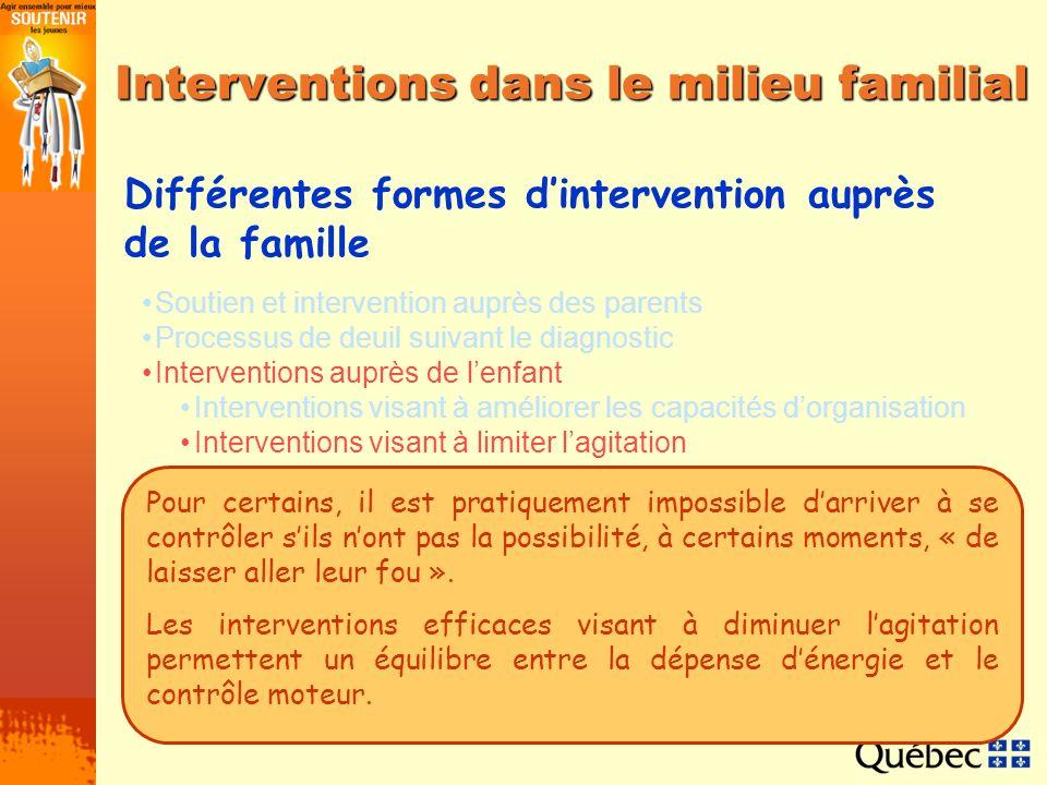 Soutien et intervention auprès des parents Processus de deuil suivant le diagnostic Interventions auprès de lenfant Interventions visant à améliorer l