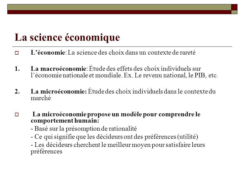 La science économique Léconomie: La science des choix dans un contexte de rareté 1.La macroéconomie: Étude des effets des choix individuels sur lécono