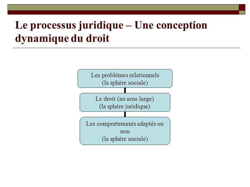 Le processus juridique – Une conception dynamique du droit Les problèmes relationnels (la sphère sociale) Le droit (au sens large) (la sphère juridiqu