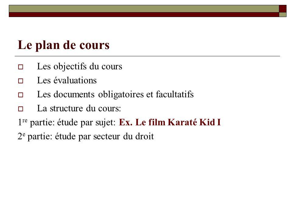 Le plan de cours Les objectifs du cours Les évaluations Les documents obligatoires et facultatifs La structure du cours: 1 re partie: étude par sujet: