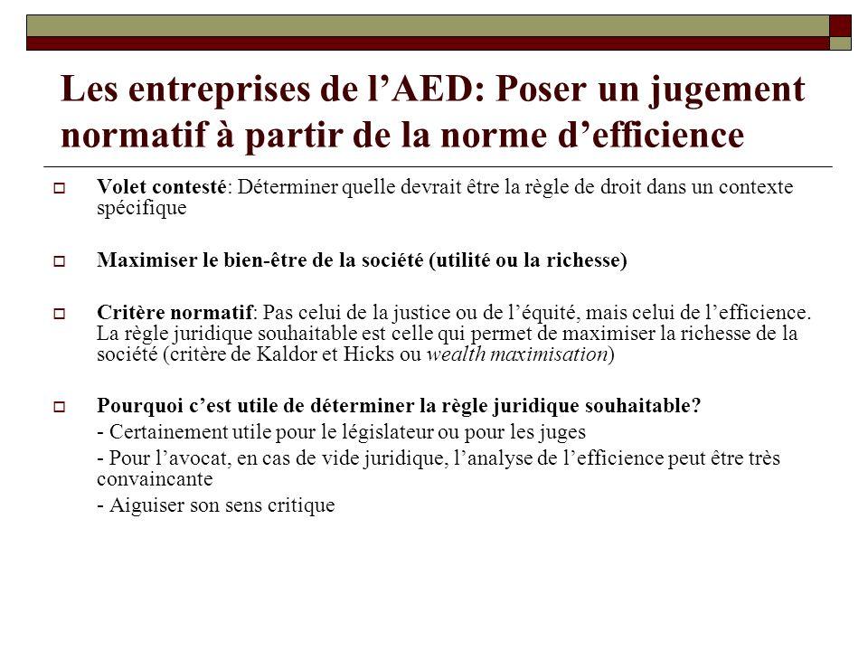 Les entreprises de lAED: Poser un jugement normatif à partir de la norme defficience Volet contesté: Déterminer quelle devrait être la règle de droit