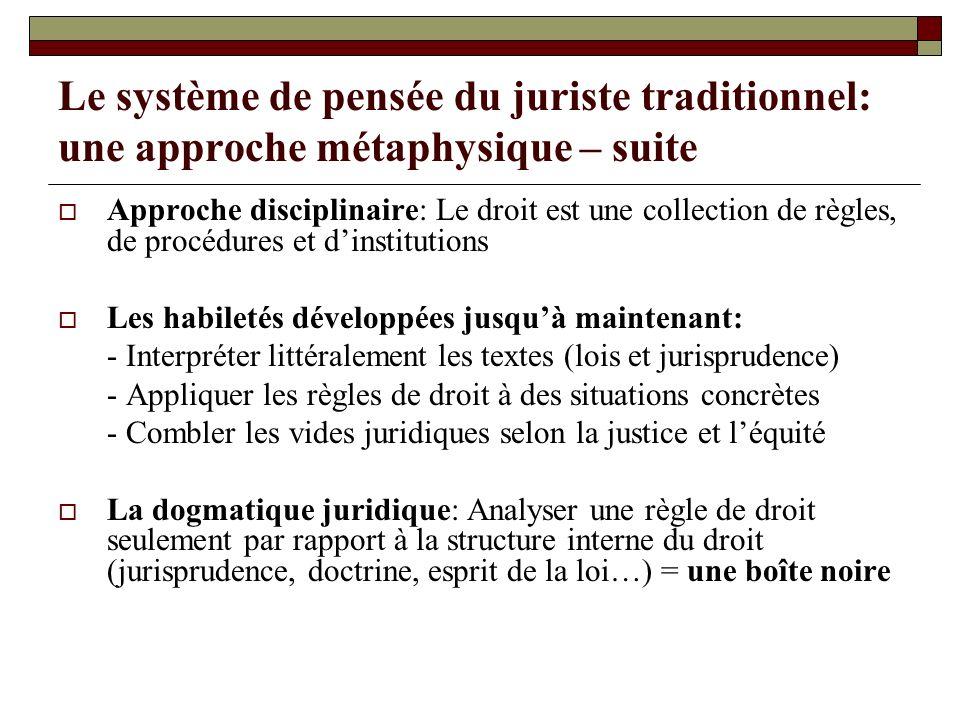 Le système de pensée du juriste traditionnel: une approche métaphysique – suite Approche disciplinaire: Le droit est une collection de règles, de proc
